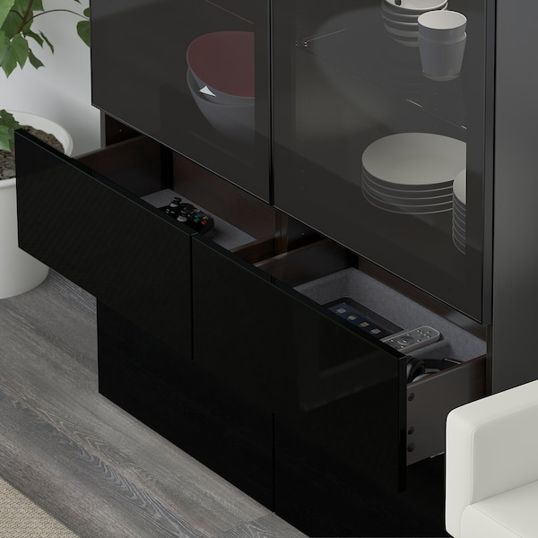 Storage Combination W Glass Doors Bestå Black Brown Selsviken High Glossblack Smoked Glass
