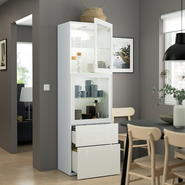 BESTÅ Storage combination w glass doors, white/Selsviken high-gloss/white clear glass, 60x42x193 cm