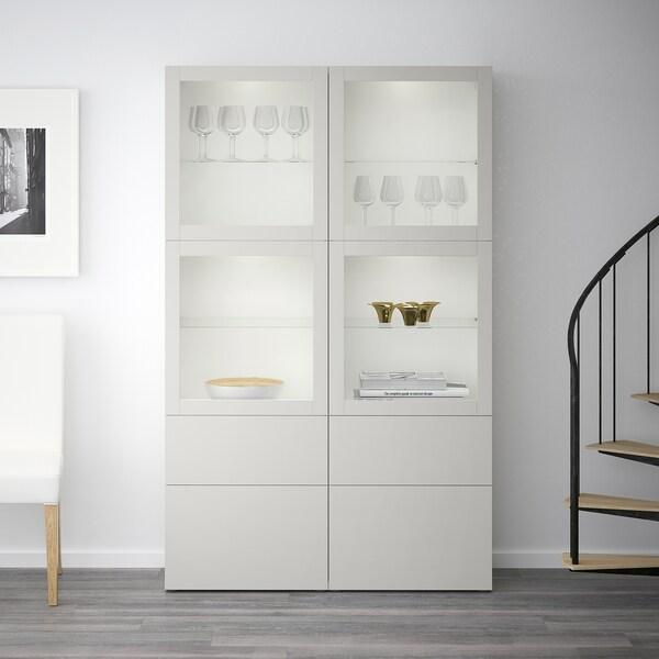 Storage Combination W Glass Doors Bestå White Sindvik Lappviken Light Grey Clear Glass