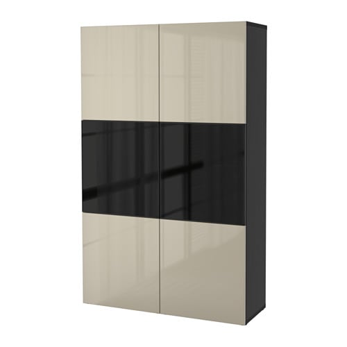 best storage combination w glass doors black brown selsviken high gloss beige smoked glass ikea. Black Bedroom Furniture Sets. Home Design Ideas
