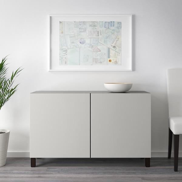 BESTÅ Storage combination with doors, black-brown/Lappviken light grey, 120x42x65 cm