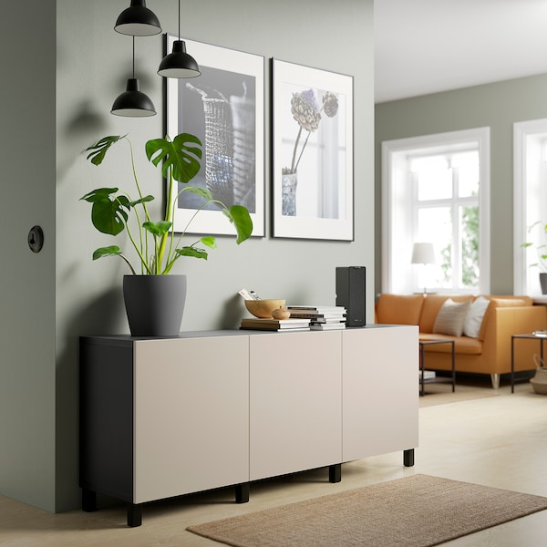 BESTÅ Storage combination with doors, black-brown/Lappviken/Stubbarp light grey-beige, 180x42x74 cm