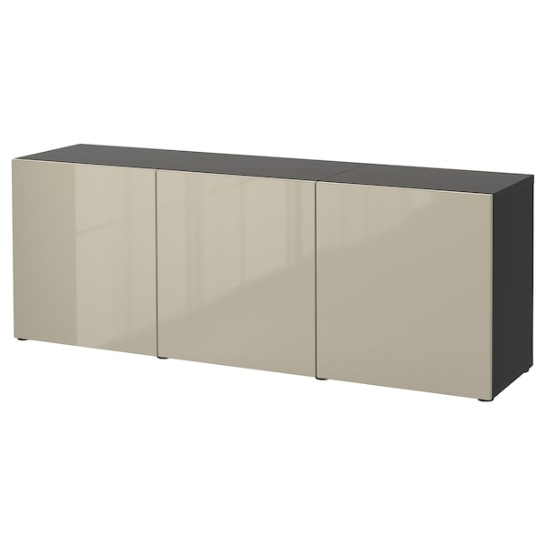 BESTÅ Storage combination with doors, black-brown/Selsviken high-gloss/beige, 180x42x65 cm