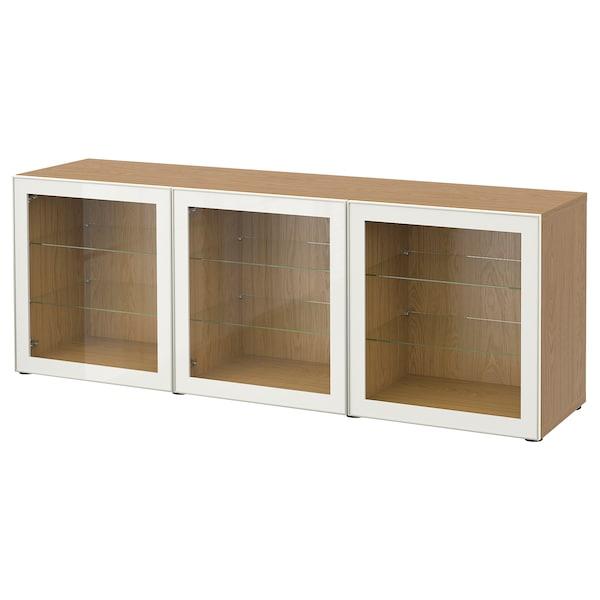 BESTÅ Storage combination with doors, oak effect/Glassvik white clear glass, 180x42x65 cm