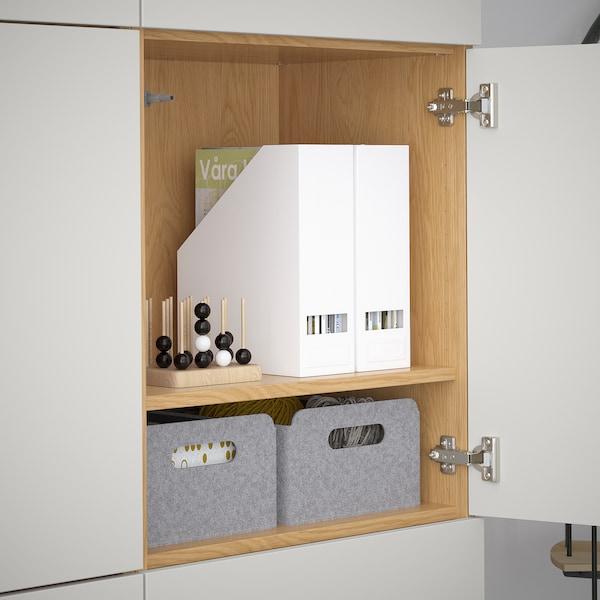 BESTÅ Storage combination with doors, oak effect/Lappviken light grey, 120x40x192 cm