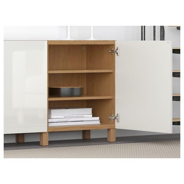 BESTÅ Storage combination with doors, oak effect/Selsviken high-gloss/white, 180x42x65 cm