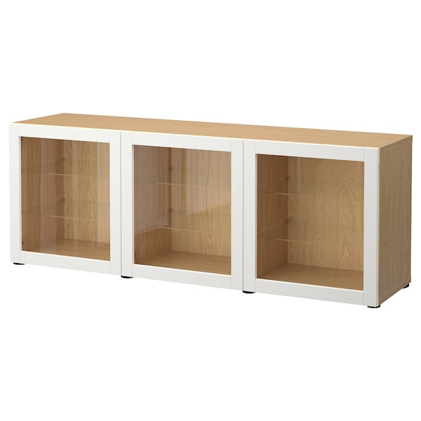 BESTÅ Storage combination with doors, oak effect/Sindvik light grey clear glass, 180x42x65 cm