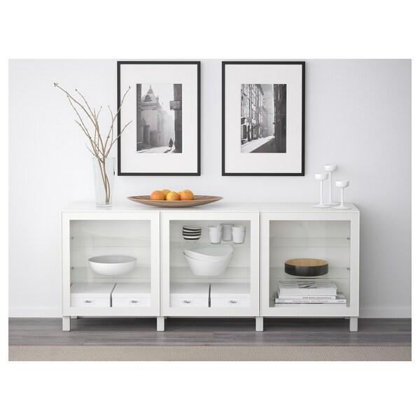 BESTÅ Storage combination with doors, white/Glassvik white clear glass, 180x42x65 cm