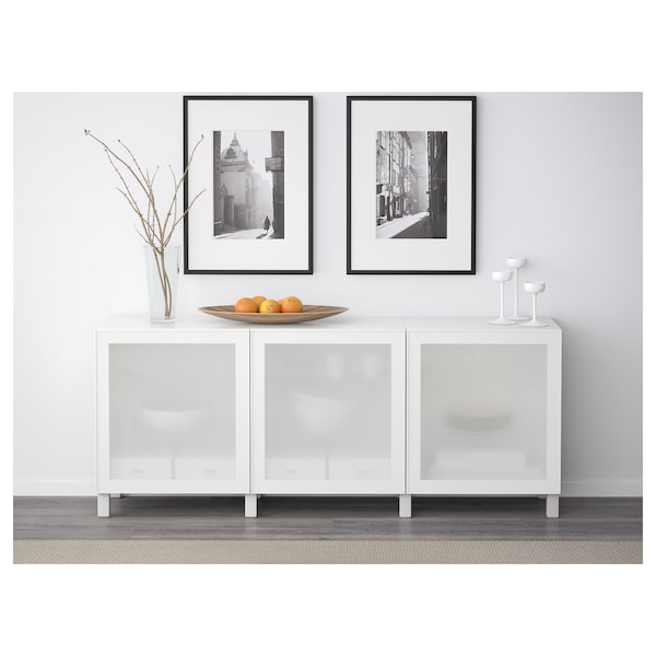 BESTÅ Storage combination with doors, white/Glassvik white frosted glass, 180x42x65 cm