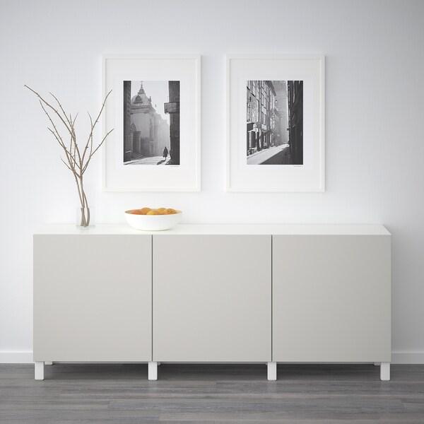 BESTÅ Storage combination with doors, white/Lappviken light grey, 180x42x65 cm