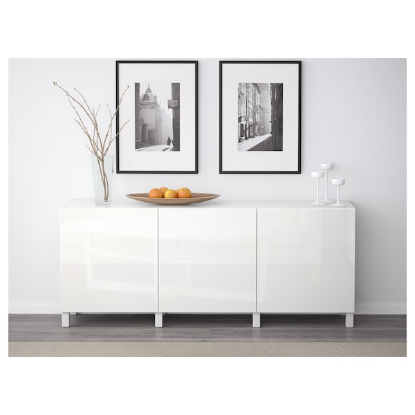 BESTÅ Storage combination with doors, white/Selsviken high-gloss/white, 180x42x65 cm