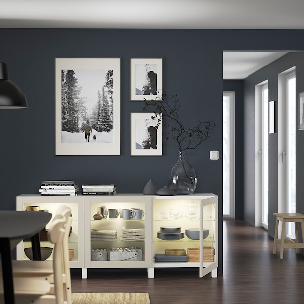 BESTÅ Storage combination with doors, white Sindvik/Stubbarp/light grey-beige clear glass, 180x42x74 cm