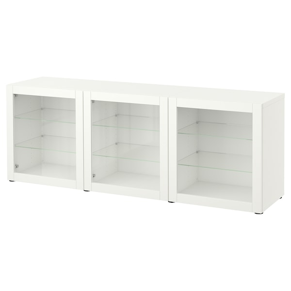BESTÅ Storage combination with doors, white/Sindvik white clear glass, 180x42x65 cm