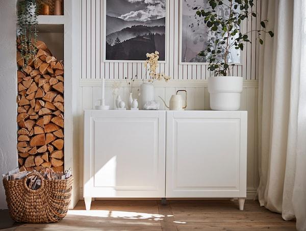 BESTÅ Storage combination with doors, white/Smeviken/Kabbarp white, 120x42x74 cm