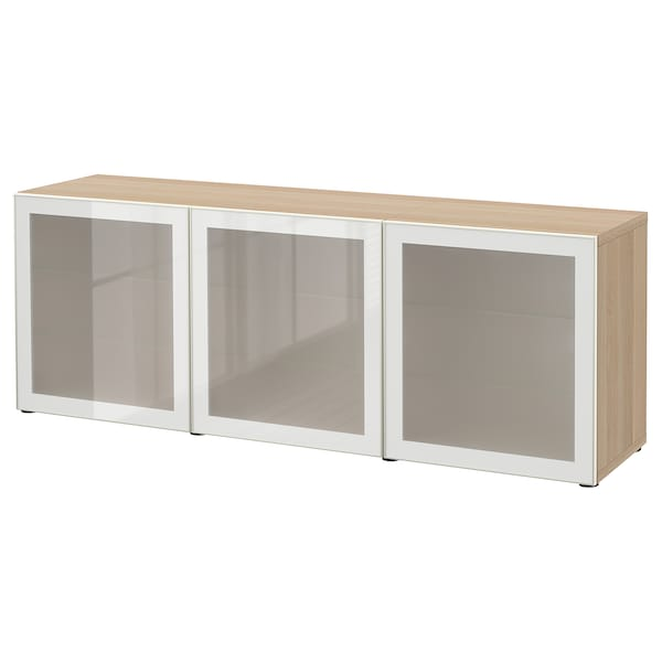 BESTÅ Storage combination with doors, white stained oak effect/Glassvik white frosted glass, 180x42x65 cm