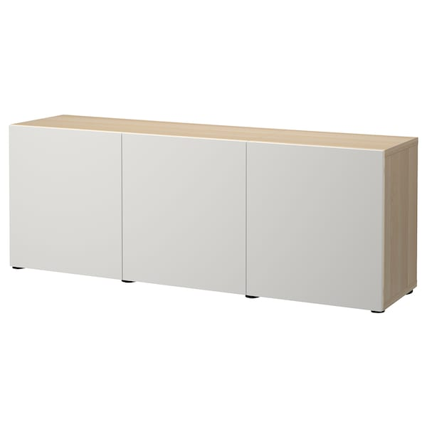 BESTÅ Storage combination with doors, white stained oak effect/Lappviken light grey, 180x42x65 cm