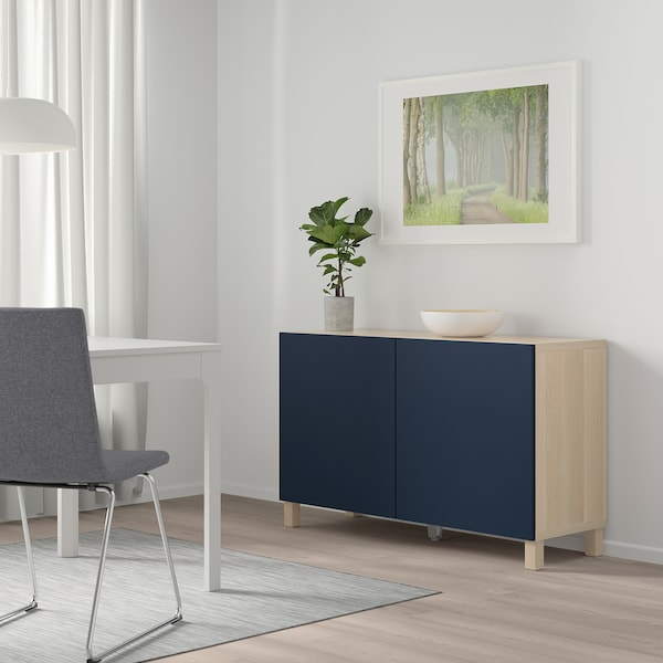 BESTÅ Storage combination with doors, white stained oak effect/Notviken blue, 120x42x65 cm