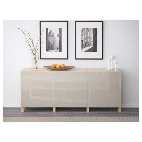 BESTÅ Storage combination with doors, white stained oak effect/Selsviken high-gloss/beige, 180x42x65 cm