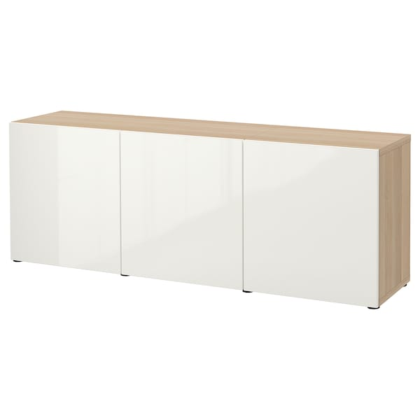BESTÅ Storage combination with doors, white stained oak effect/Selsviken high-gloss/white, 180x42x65 cm