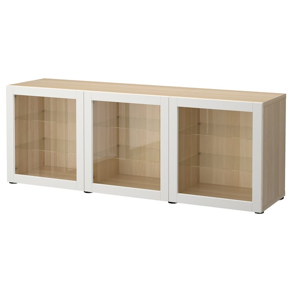 BESTÅ Storage combination with doors, white stained oak effect/Sindvik light grey clear glass, 180x42x65 cm
