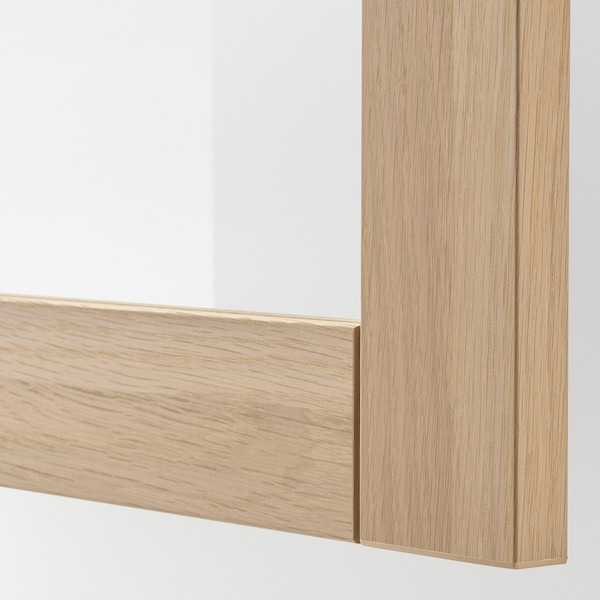BESTÅ Storage combination with doors, white stained oak effect/Sindvik white stained oak eff clear glass, 180x42x65 cm