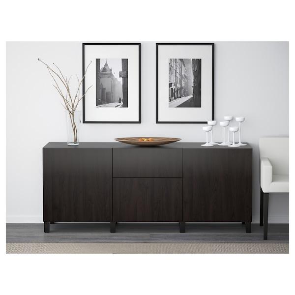 BESTÅ Storage combination with drawers, black-brown/Lappviken black-brown, 180x40x74 cm