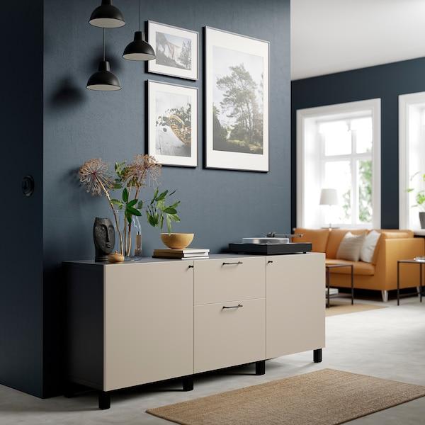 BESTÅ Storage combination with drawers, black-brown/Lappviken/Stubbarp light grey-beige, 180x42x74 cm