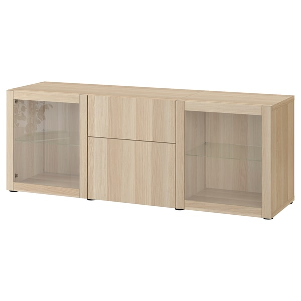 BESTÅ Storage combination with drawers, white stained oak effect Lappviken/Sindvik white stained oak eff clear glass, 180x42x65 cm