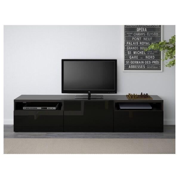 Hemnes Tv Meubel Zwart.Besta Black Brown Selsviken High Gloss Black Tv Bench 180x40x38