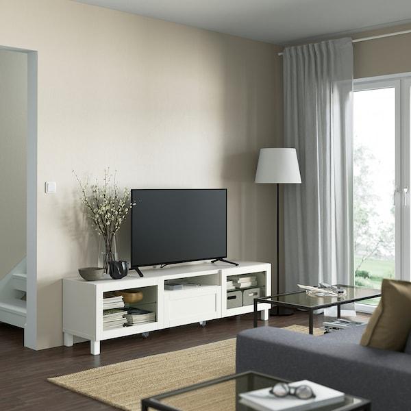 BESTÅ TV bench, white/Hanviken/Stubbarp white clear glass, 180x42x48 cm