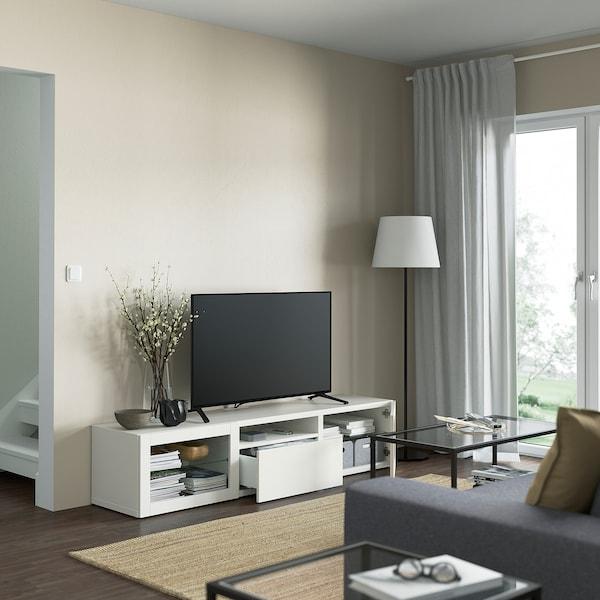BESTÅ TV bench, white/Lappviken white clear glass, 180x42x39 cm