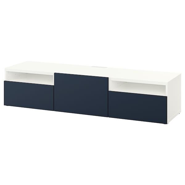 BESTÅ TV bench, white, Notviken blue