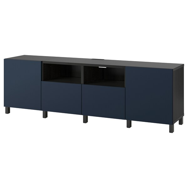 BESTÅ TV bench with doors and drawers, black-brown/Notviken/Stubbarp blue, 240x42x74 cm