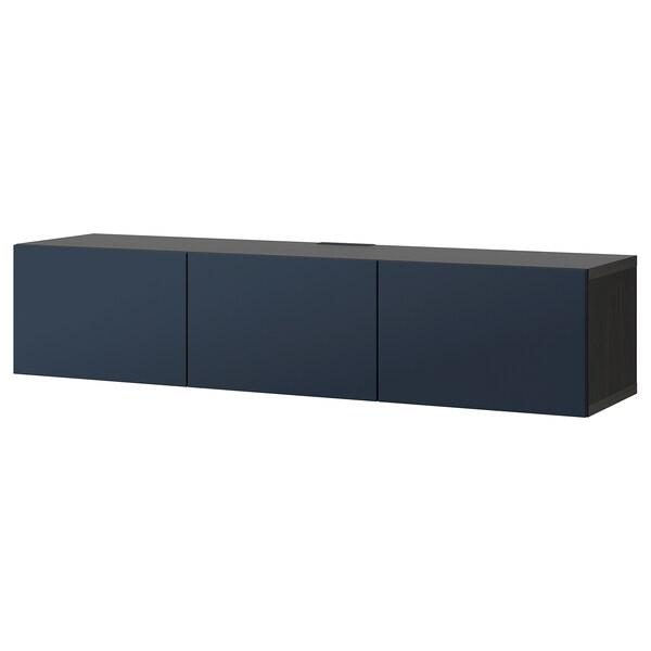 BESTÅ TV bench with doors, black-brown/Notviken blue, 180x42x38 cm