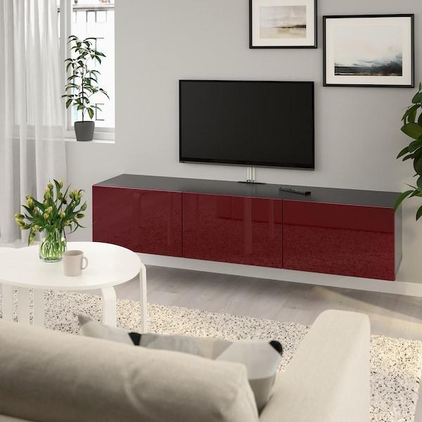 BESTÅ TV bench with doors, black-brown Selsviken/high-gloss dark red-brown, 180x42x38 cm