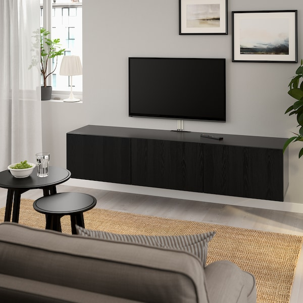 BESTÅ TV bench with doors, black-brown/Timmerviken black, 180x42x38 cm