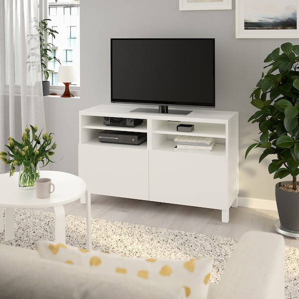 Tv Bench With Doors Besta Lappviken White Lappviken Stubbarp White