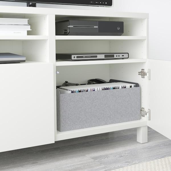 BESTÅ TV bench with doors, white/Lappviken/Stubbarp white, 120x42x74 cm