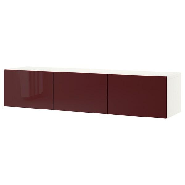 BESTÅ TV bench with doors, white Selsviken/high-gloss dark red-brown, 180x42x38 cm