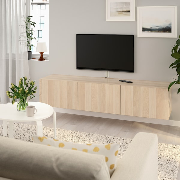 BESTÅ TV bench with doors, white stained oak effect/Lappviken white stained oak effect, 180x42x38 cm