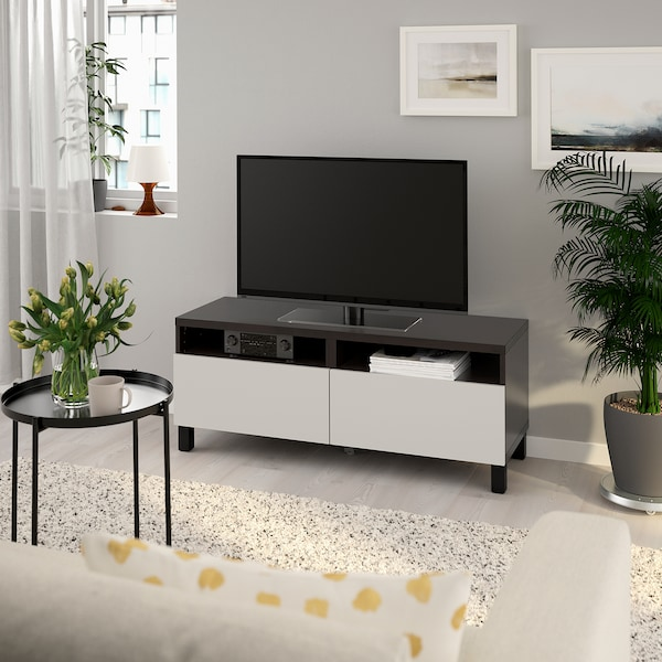 BESTÅ TV bench with drawers, black-brown/Lappviken/Stubbarp light grey, 120x42x48 cm