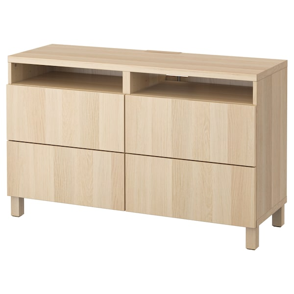 Tv Bench With Drawers Besta Lappviken White Stained Oak Effect