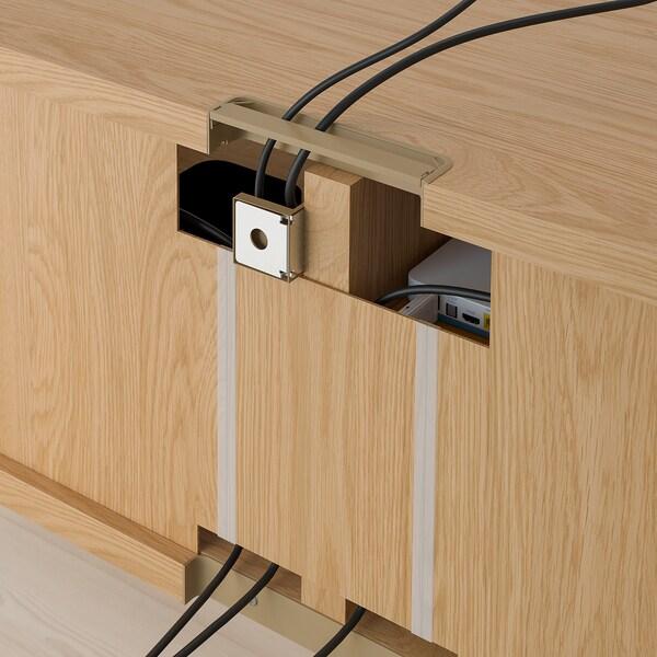 BESTÅ TV bench with drawers, oak effect/Lappviken light grey, 120x42x39 cm