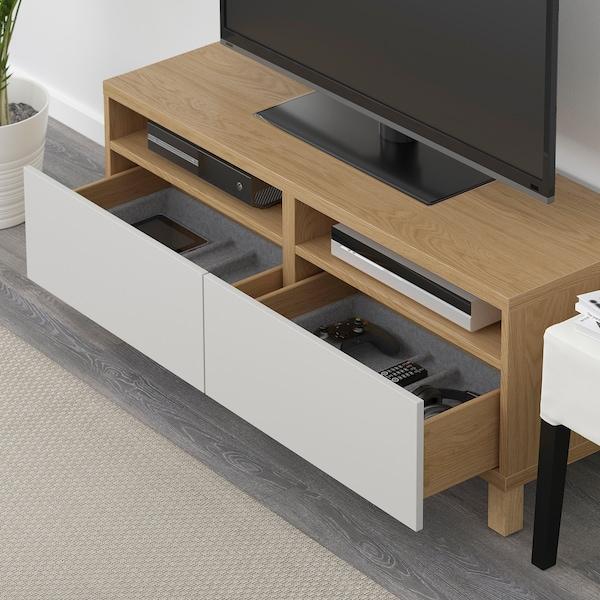 BESTÅ TV bench with drawers, oak effect/Lappviken/Stubbarp light grey, 120x42x48 cm