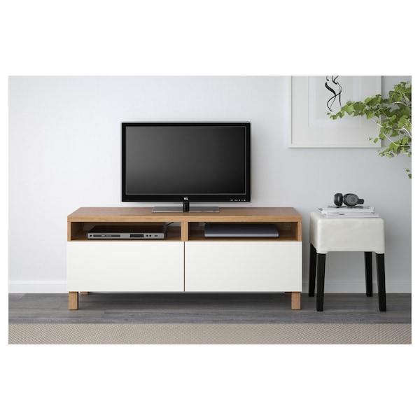BESTÅ TV bench with drawers, oak effect/Lappviken white, 120x42x48 cm