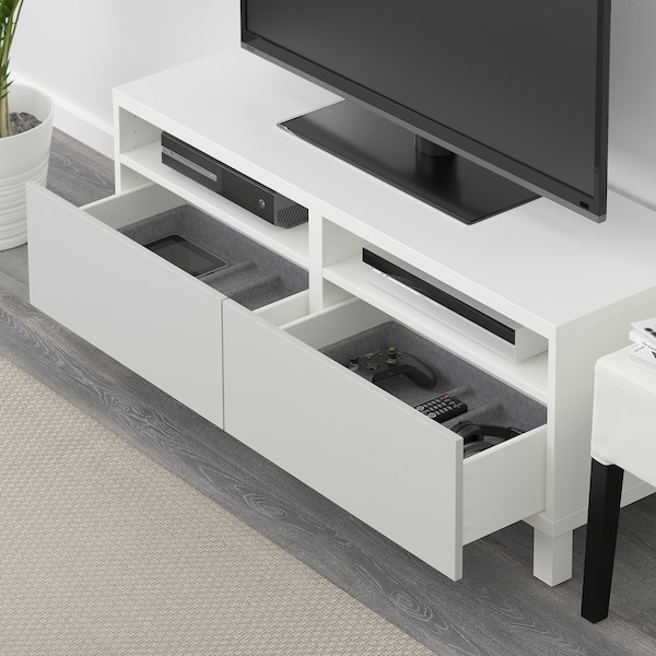 BESTÅ TV bench with drawers, white/Lappviken/Stubbarp light grey, 120x42x48 cm