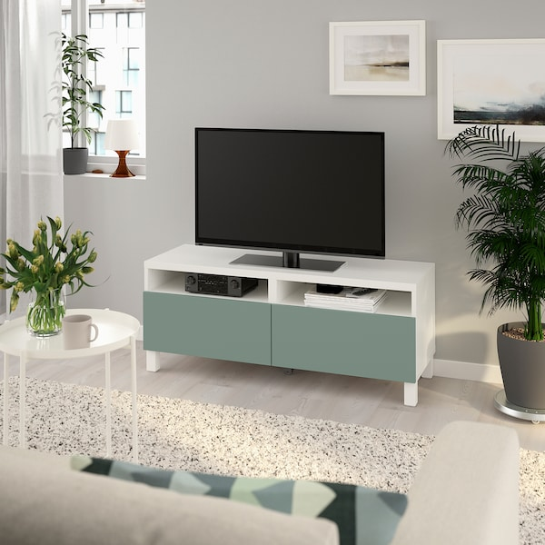 BESTÅ TV bench with drawers, white/Notviken/Stubbarp grey-green, 120x42x48 cm