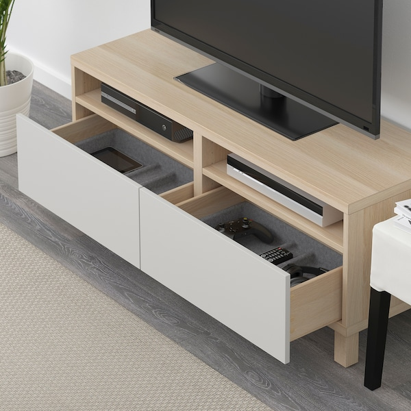 BESTÅ TV bench with drawers, white stained oak effect/Lappviken/Stubbarp light grey, 120x42x48 cm