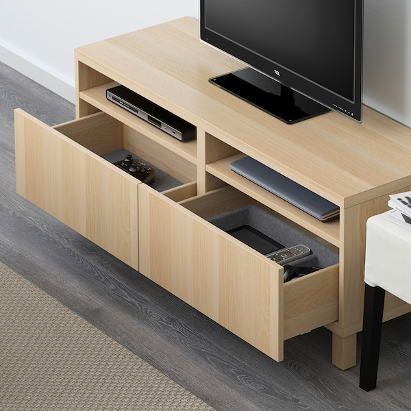 BESTÅ TV bench with drawers, white stained oak effect/Lappviken/Stubbarp white stained oak effect, 120x42x48 cm