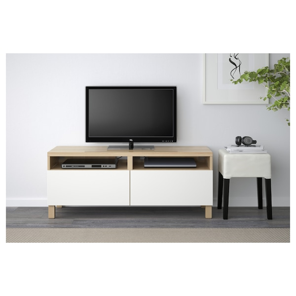 BESTÅ TV bench with drawers, white stained oak effect/Lappviken white, 120x42x48 cm